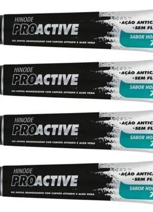 Kit com 4 proactive carvão ativado 70g - hinode - clareador dental