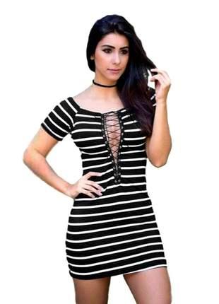 Vestido feminino festa curto decote trançado ref:006 (preto-branco)