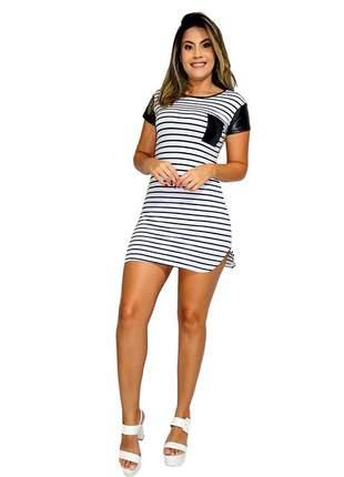 Vestido curto blogueira listrado com bolso e manga ref:015 (branco-preto)