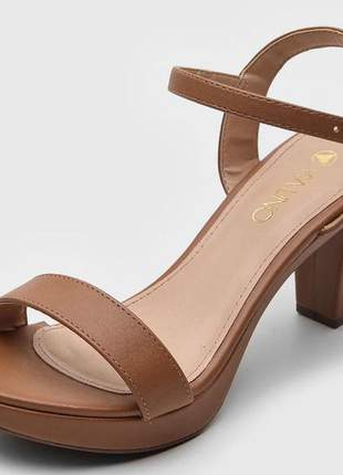 Sandália caramelo feminina salto grosso via uno 411004sbavv