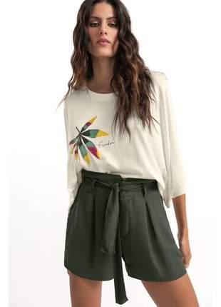 Shorts feminino clochard verde escuro com amarração e13700950