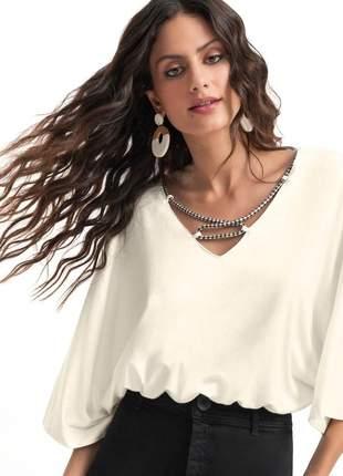 Blusa feminina fly off white detalhes corda e14068022