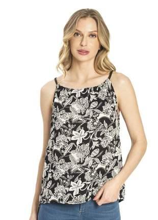 Blusa de alça feminina florida preta 6157915539