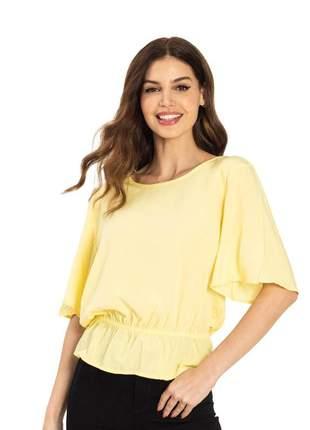 Blusa feminina babados amarelo 61578452019