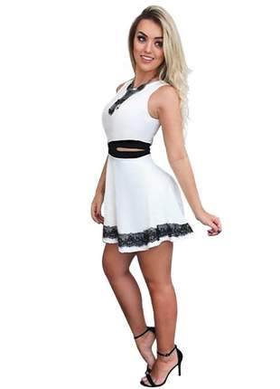 Vestido princesa rodado com cintura marcada. ref:036 (branco)