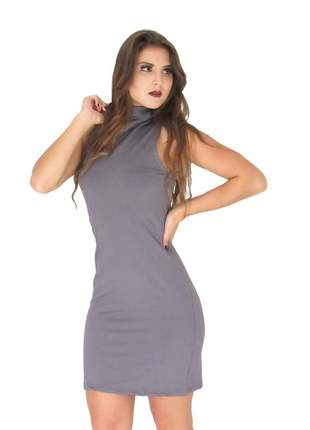 Vestido gola alta justo curto colado liso sem manga. ref:041 (cinza)