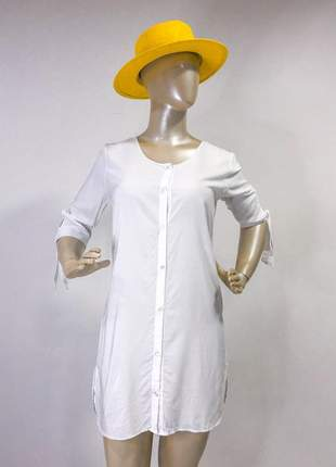 Saida de praia branca chemise camisão