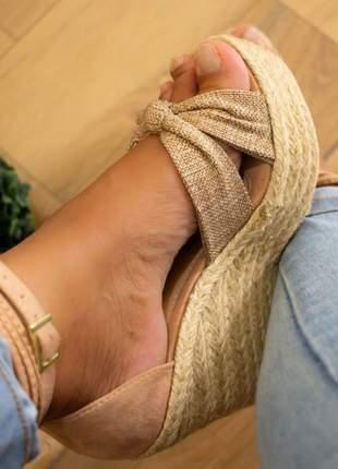 Sandália feminina anabela linho amarração corda