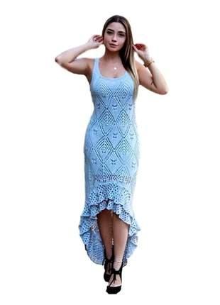 Vestido em tricô rabo de sereia ref:053 (azul-claro)