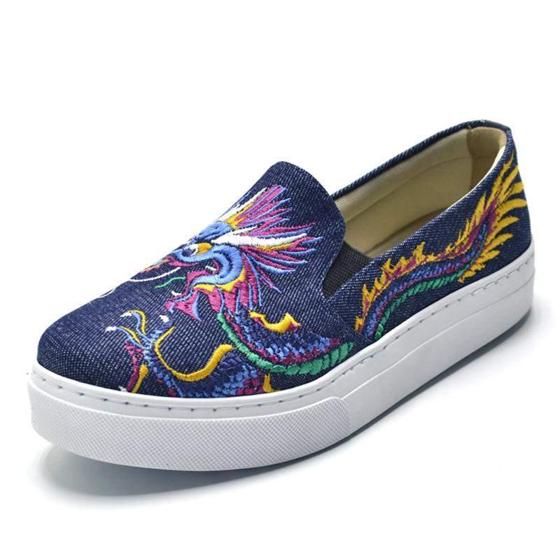 58890aafd Tênis feminino jeans slip on bordado dragão - R$ 119.90 (sapatilha ...