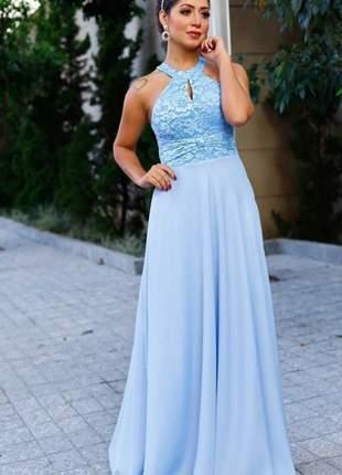 Vestido de festa azul serenity longo godê madrinha casamento formatura