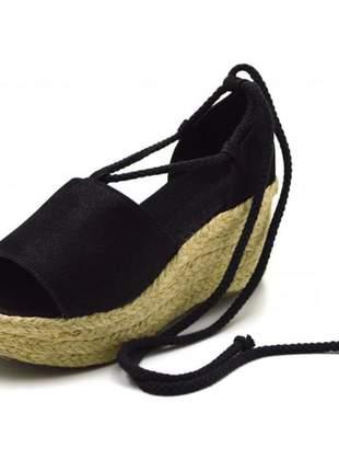 Sandália anabela salto médio nobucado preto
