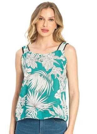 Blusa feminina de alça chiffon verde 61579251287