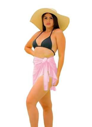Saia saída de praia envelope curta com babado verão r:1089 (rosa)