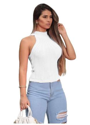 Blusa feminina gola alta tricot canelado sem mangas r:1088 (branco)