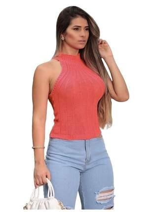 Blusa feminina gola alta tricot canelado sem mangas r:1088 (salmão)