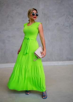Vestido longo de festa verde com cinto-laço faixa para amarração