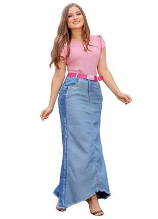 Saia longa jeans mullet bordada joyaly moda evangélica