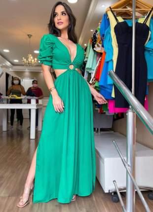 Vestido longo fenda verde bandeira