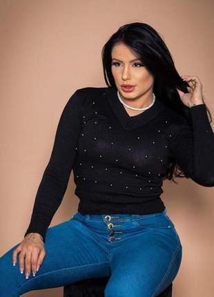 Blusa feminina gola v tricot perolas