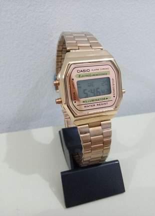 Relógio casio vintage rose a168 com caixa e manual