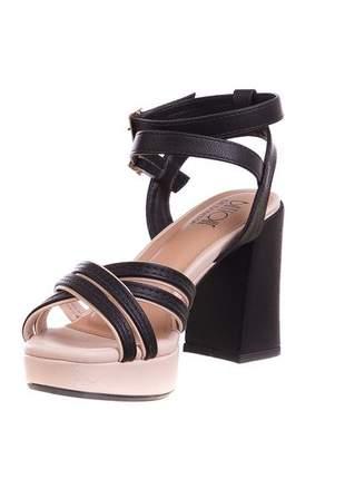 Sandália meia pata butique de sapatos nude salto preto