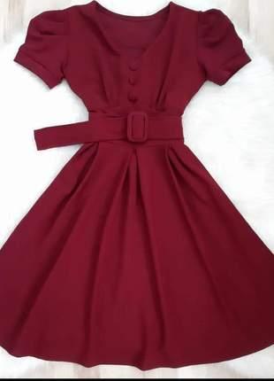 Vestido moda feminina evangélico rodado com cinto embotido rodado