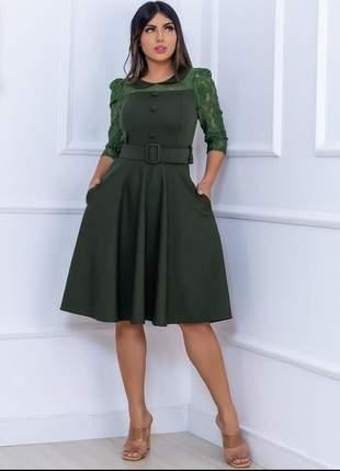 Vestido moda feminina evangélico rodado com cinto embotido