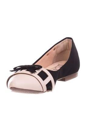 Sapatilha bico fino butique de sapatos preta bico nude confort