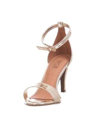 Sandália salto fino butique de sapatos dourado