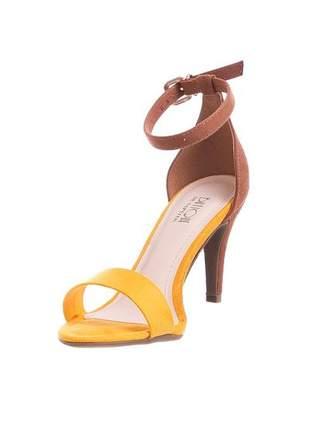 Sandália salto fino amarela marrom tira fina