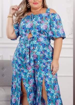 Conjunto plus size blusa com amarração e calça pantacourt estampados cód.: 1e75fea