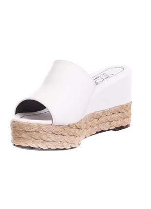 Tamanco butique de sapatos napa branco salto corda