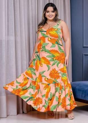 Vestido longo crepe plus size estampado