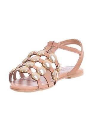 Sandália rasteira butique de sapatos caramelo esferas - 3441.40702