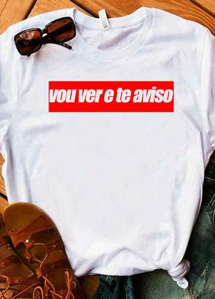 Camiseta t-shirt blusinha casual moda feminina, cor branco