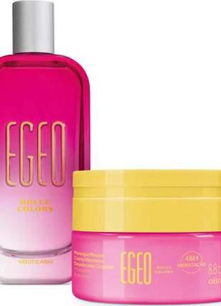 Combo egeo dolce colors desodorante colônia 90ml + merengue mousse hidratante 250g