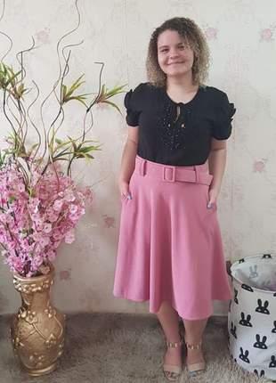 Saias moda feminina evangélicas godê com cinto rodadas