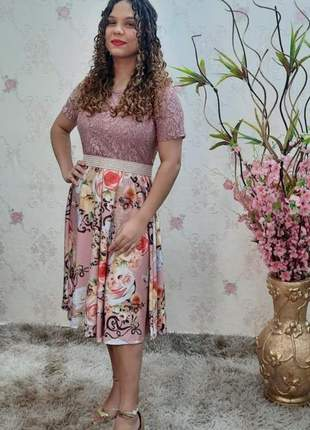Vestido  gode digital com renda moda evangélica