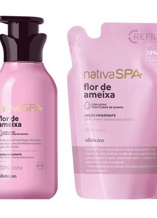 Combo nativa spa flor de ameixa: loção hidratante desodorante corporal + refil