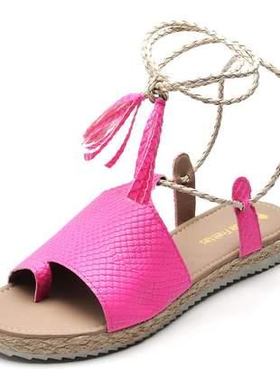 Rasteira feminina amarrar na perna rosa neon
