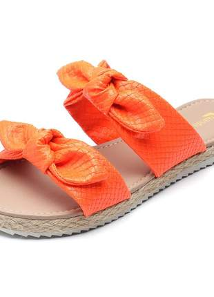 Sandália rasteira feminina laços laranja neon