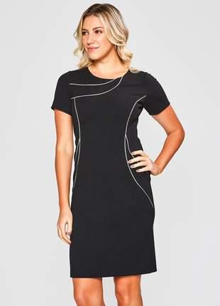 Vestido tubinho social liso com viés preto - 11603