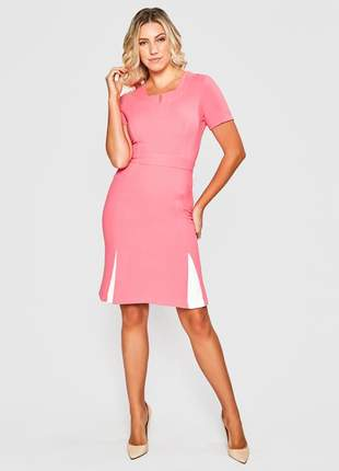 Vestido de manga curta liso e acinturado pink - 11604