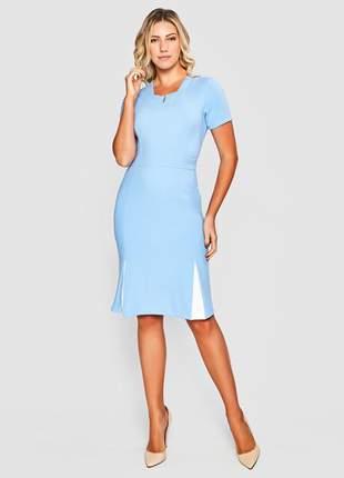 Vestido de manga curta liso e acinturado azul -11604