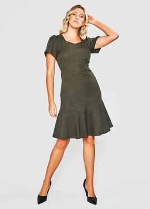 Vestido liso alfaiataria mescla verde - 06113