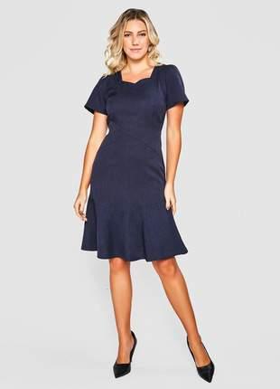 Vestido liso alfaiataria mescla marinho - 06113