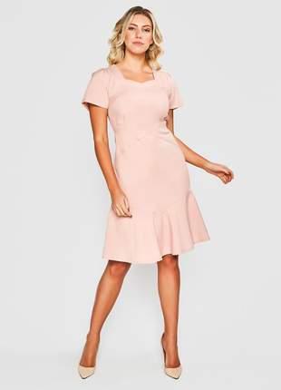 Vestido liso alfaiataria mescla rosa - 06113