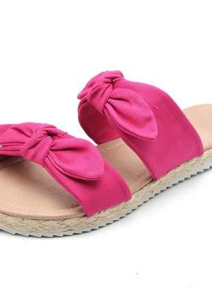 Sandália rasteira feminina laços rosa pink