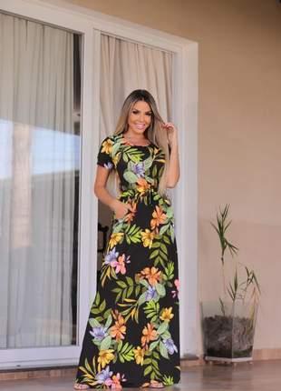 Vestido longo de festa manga curta estampado floral